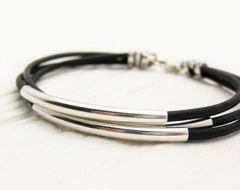 Unisex Black Leather Sterling Silver Bracelet / Eco Friendly Leather Solid Sterling / Bohemian Stacking Bangle Bracelet / Black and White