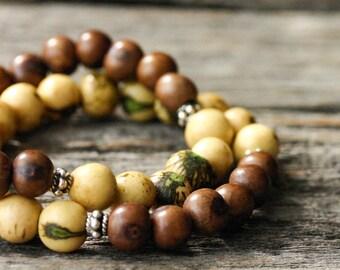 Yellow Mocha Boho Bead Bracelet / Boho Jewelry, Acai Seed, Beaded Bracelet, Tribal Bracelet, Bohemian Jewelry, Ethnic, Bohochic, Gypsy Beach