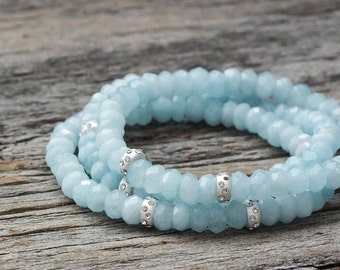 Aquamarine Sterling Bead Bracelet / Sky Blue Natural Stone Faceted Beadwork / March Birthstone Light Baby Blue / Spring & Summer Fashion