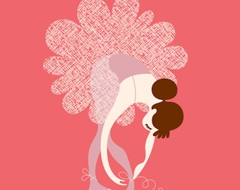 "8X10"" ballerina tying slippers giclée print on fine art paper. warm pink, lilac purple, brunette."