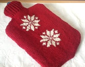 Hot Water Bottle Cover / Cozy - hand knitted with Scandi Snowflake design. - Melsey