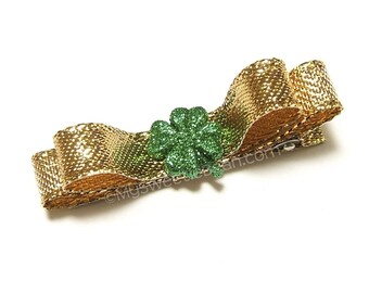 Four Leaf Clover Hair Clip for Girls, Women, Metallic Gold Hair Bow, Green Shamrock Clip, 4 Leaf Clover, Irish Clover Clippie, Toddler Girls