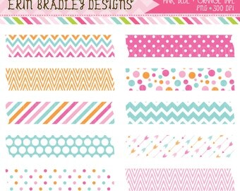 Pink Blue Orange Tape Frame Clipart Personal & Commercial Use Clip Art Graphics Text Frames INSTANT DOWNLOAD