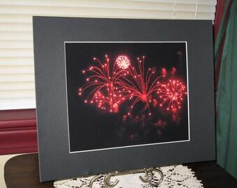 Red, Burst, Fireworks, Thunder Over Louisville, Fine Art, Photography, Print, Matted, 8 x 10, OOAK