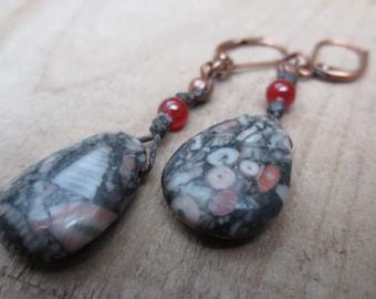 Mystery Fossil Jasper Stone Earrings