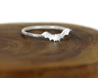 Halloween bat ring - Sterling silver stacking ring  - dainty - spooky - etsymetal team