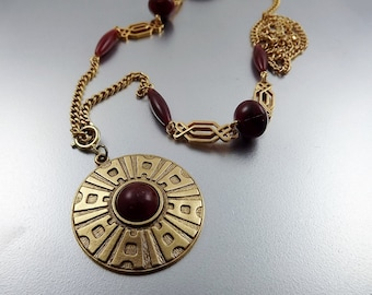 Sarah Coventry Jewelry, Long Statement Pendant Necklace, Bold Gold Medallion, Signed Costume Jewelry, 1970's Jewelry