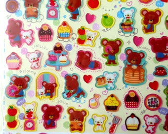 Animals Sticker, animal, Cute sticker, Kawaii Sticker from Japan, card decoration, bear, teddy, brown, decoration, doll, seal, decor, candy
