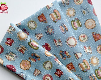 Blue, Cotton, Fabric, vintage style, alice, colorful, cup, tea, FAT QUARTER, half yard, yard, girl, children, bed, japan, kid, cute, iammie