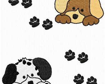 Puppy Dog and Paw Prints Frame Machine Embroidery Designs Instant Download