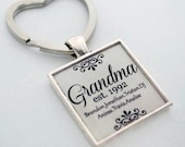 Personalized Grandma Keychain - Mothers Day Gift, Birthday Gift, Grandmother Gift, Grandma Jewelry, Nana Keychain, Nana