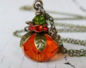 Pumpkin Necklace, Fall Jewelry, Autumn Jewelry, Fall Necklace, Orange Pumpkin Necklace, Halloween Jewelry
