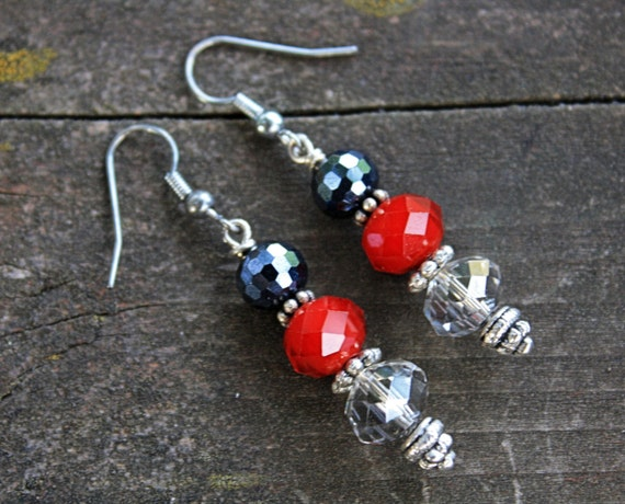 Black Red Silver Crystal Crimson Earrings // Gifts under 15 // Bridal Jewelry // Red and Black Earrings // Earrings // Jewelry // Crystal