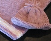 Knitted Baby Blanket and Matching Hat in pale purple