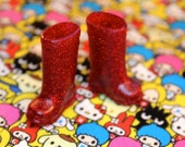 Blythe Red with red Glitter Gumboots