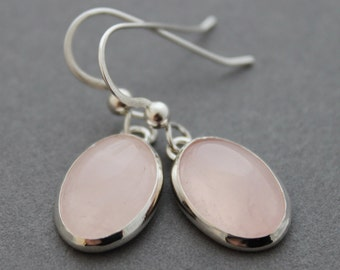 Sterling and Rose Quartz Earrings - Simplicity