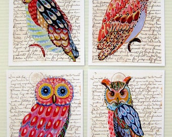 Whimsical Owls four prints of an original paintings 8 x11,5 decor gift