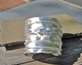Fold Formed Cuff, Fine Silver Bracelet, Pleated Silver Cuff, Folded Silver Bracelet