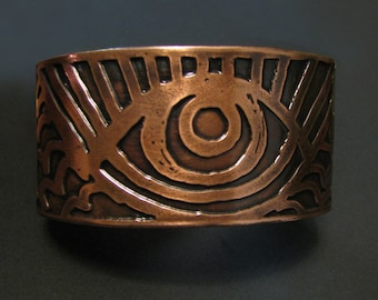 Etched Copper Cuff - Rising Eye Cuff - Hand drawn and deeply etched in my studio in Tx- made in Austin, Tx
