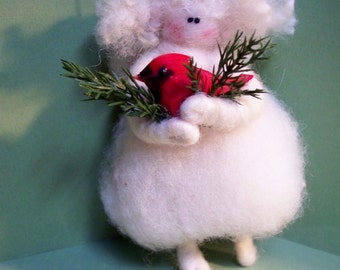 Cardinal Angel Mini Felted Wool Angel Ornament