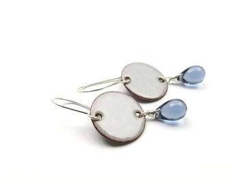 Gray Enamel Earrings with Blue Rain Drops - Rain Earrings - Gray Raindrop Earrings - Raindrop Jewelry