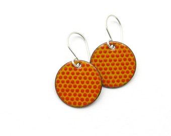 Orange Red Enamel Earrings, Polka Dots, Copper and Sterling Silver / Handmade in Latvia