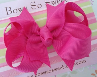 Pink Raspberry Hair Bow, Boutique Layered Hair Bow, Spiked Layers Girls Hair Bows...Pink Raspberry