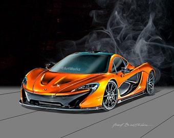 Auto Art - McLaren P1 - Sports Car Print -  Supercar Print - 8x10 Giclee Print - A50