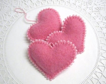 Three Pink Cashmere Heart Valentine Decorations Ornaments Handmade from a Felted Wool Sweater (no.403)