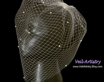 Bridal Veil, Birdcage Veil, Blusher Veil, French Net Veil, Scattered Pearl Veil, Vintage Inspired Veil, Made-To-Order Veil, Custom Veil