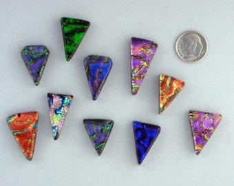 10 Dichroic Triangular Cabochons