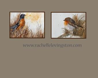 Art Bird Decor home decor Bird Art robin Watercolor art painting 5x7 room decor Bird PRINT SET Bird orange brown mothers day gift idea