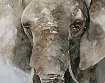 Elephant Fine Art PRINT from Watercolor Elephant Painting nursery room decor nursery art baby grey blue gray beige tan brown jungle zoo DP