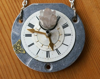 Crystal-powered Time Contraption Statement Pendant