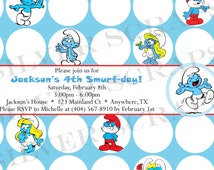 Smurfs Custom Digital Birthday Party Invitation - Smurfette Papa Smurf Little Blue People Red Yellow Boy Girl Any Age DIY Printable