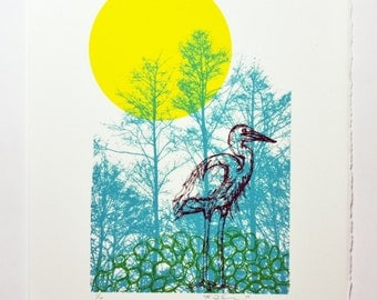 Heron - Serigraph - Limited Edition Print