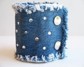 Upcycled denim cuff bracelet with bling