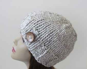 Chunky Knit Hat Knit Hat Winter Hat Women Teens Hat in Wheat with Coconut Shell Button Accent - Ready to Ship - Direct Checkout