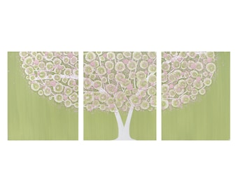 Nursery Tree Art Painting - Pink and Green Textured Canvas Wall Art Triptych - Large 50x20