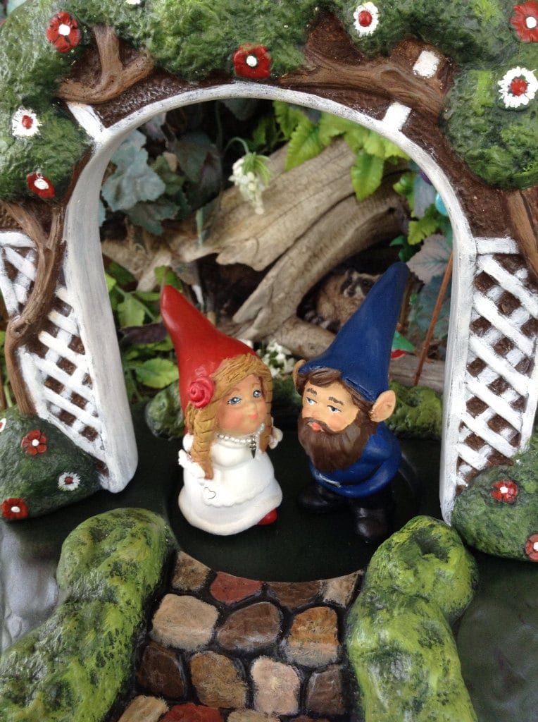 Miniature Garden Arch Gnome Cake Toppers Gnomelyweds Wedding
