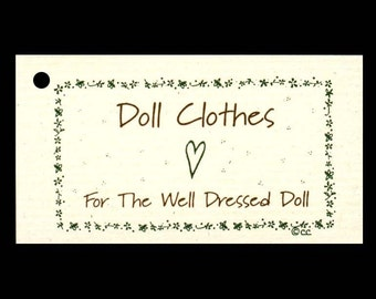 "100 DOLL CLOTHES Hang Tags, Price Tags, 1-1/2""x2-3/4""  Strings Included."