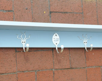 36 Inch Shelf with Personalized Spoon Hooks and Funky Fork Hooks