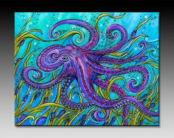 Ready to Hang, Octopus, Ceramic Tile Wall Art
