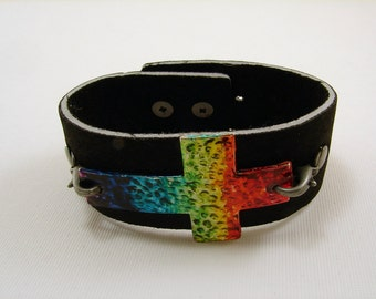Black Leather Bracelet with Rainbow Cross