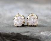 Diamond Earrings - Conflict Free Rough Raw Uncut Diamonds - 14K Yellow Gold and Raw Gemstone Stud Earrings - April Birthstone