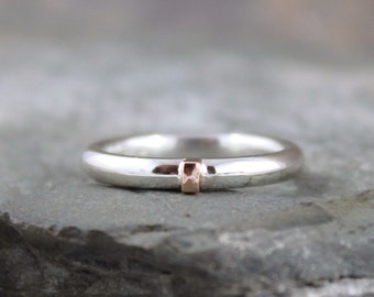 14K Rose Gold and Sterling Silver Band - Round Comfort Fit Style - Men's or Ladies Jewellery - 3mm Wedding Bands - Mixed Metal-Stacking Ring