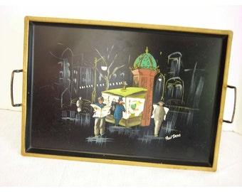 Paul Denis Hand Painted Tray Street Scene News Stand Vintage Mad Men Mid Century Modern