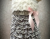 Petti Lace Romper Ruffle Dress  size small , medium, or large Pink, Gray, White Chevron