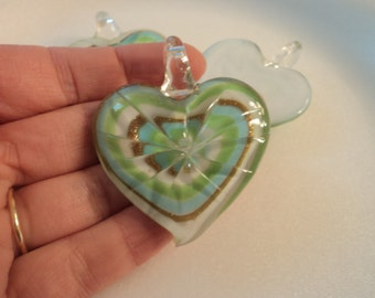 SALE - Glass Heart Pendant - Blue/Green/Bronze/White - #PND926
