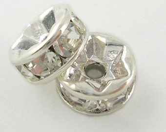Small Clear Rhinestone Spacers - Set of 30 - #SH218